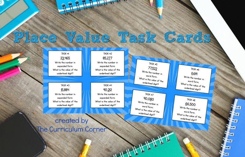 This free set of place value task cards is designed to fit into 4th and 5th grade math classrooms.