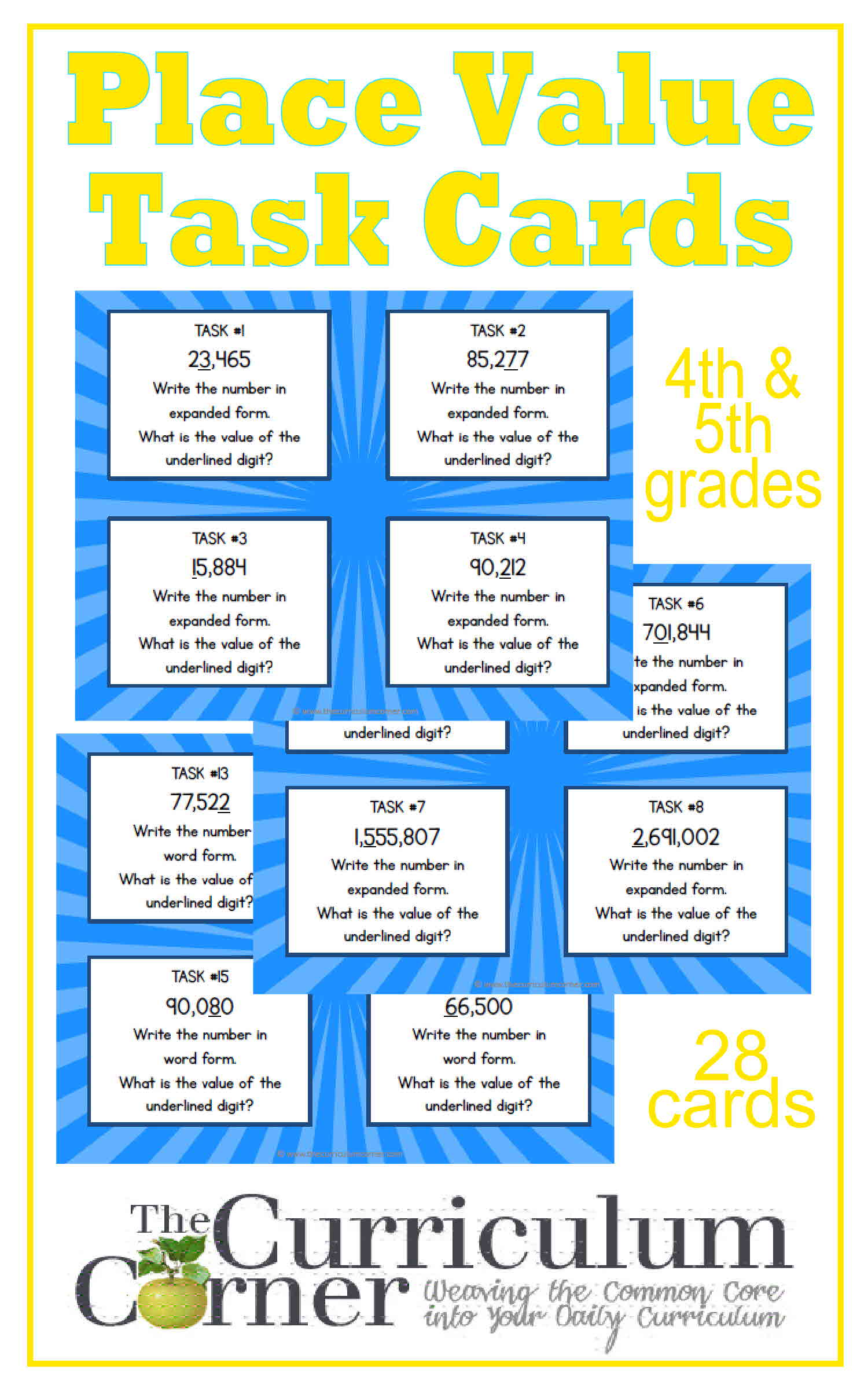 Worksheet 5th Grade Place Value place value task cards the curriculum corner 4 5 6 4th 5th grade free from corner