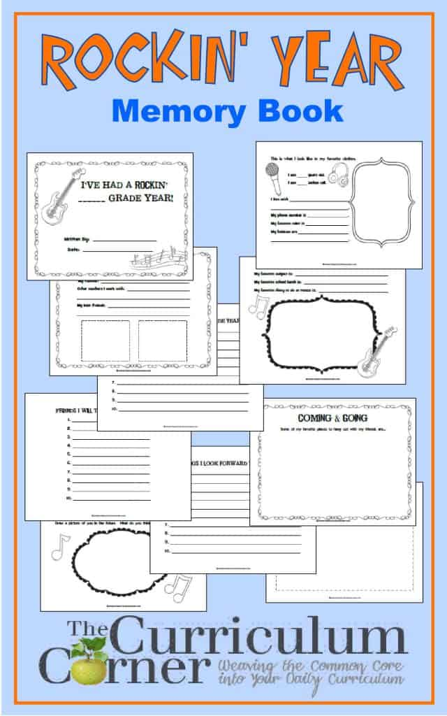 Rockin' Year Memory Book FREE from The Curriculum Corner | End of Year