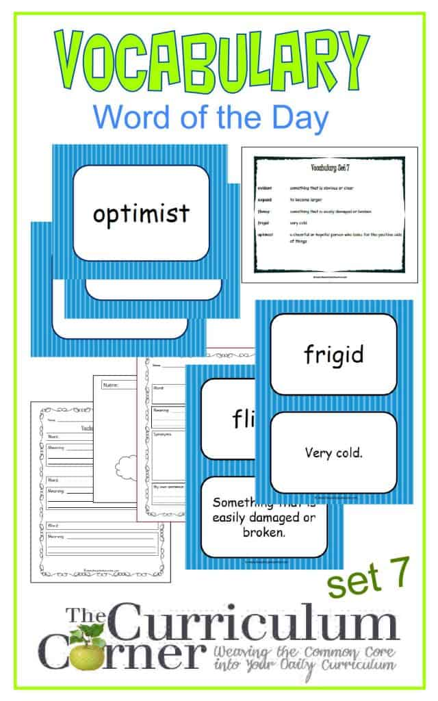Vocabulary Word of the Day Set 7 FREE from The Curriculum Corner | includes word map