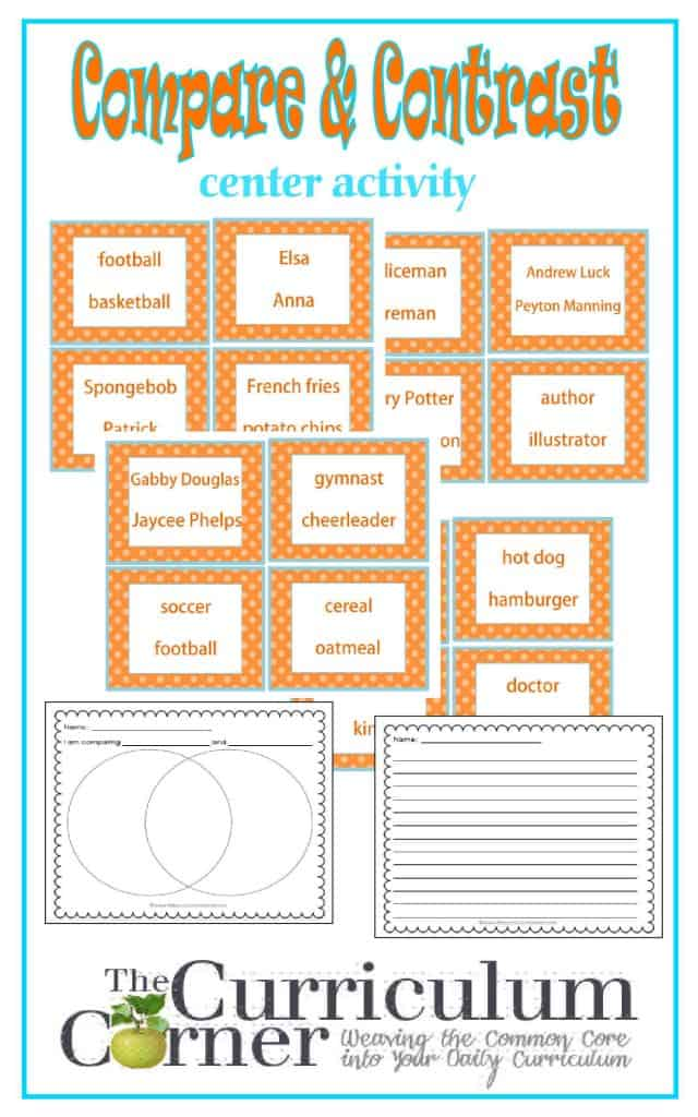 Compare & Contrast Center Activity free from The Curriculum Corner