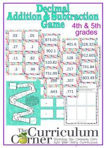 graphic regarding Printable Decimal Games referred to as Including Subtracting Decimals Activity - The Curriculum Corner 4-5-6