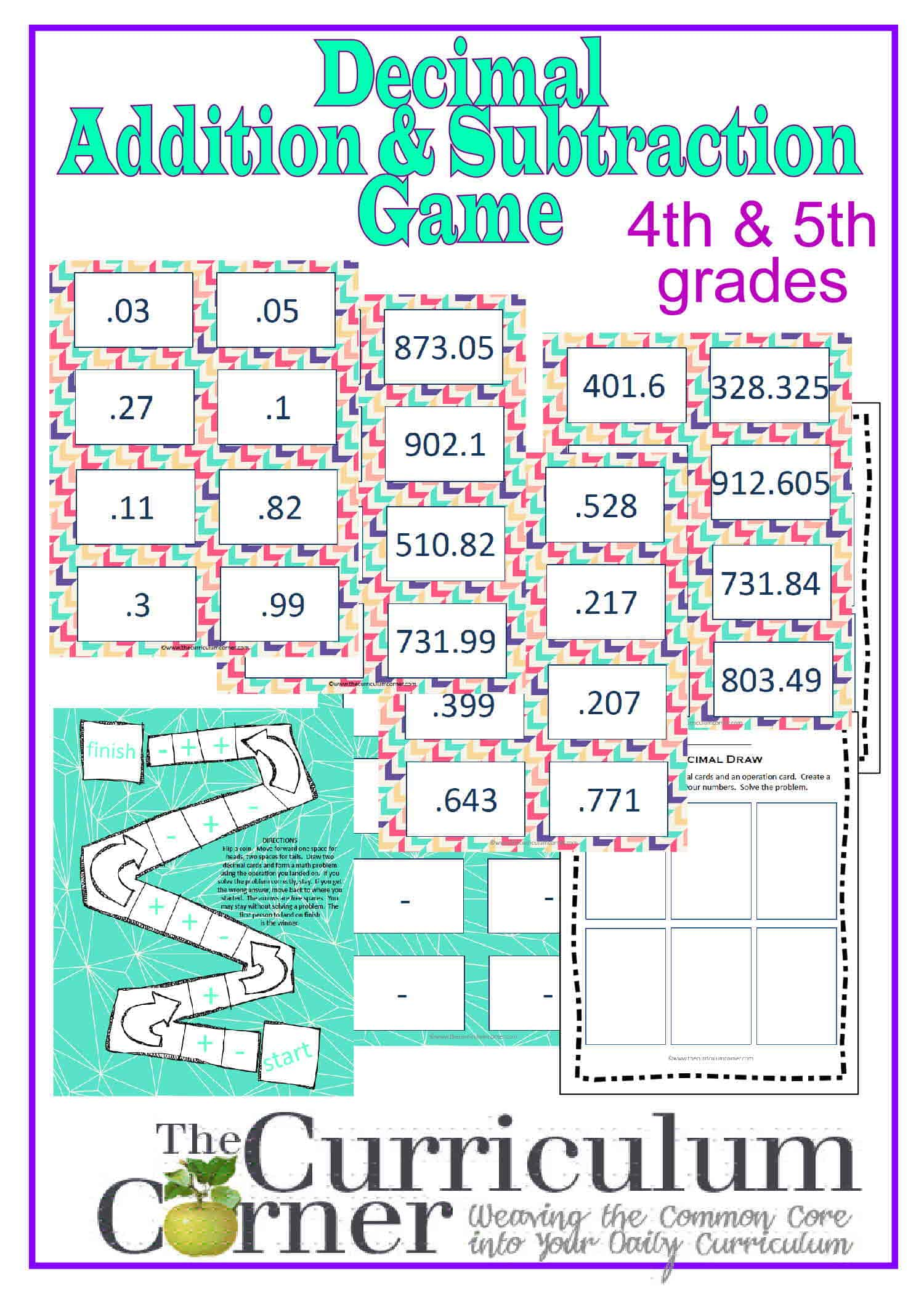Worksheet Adding Decimals adding subtracting decimals game the curriculum corner 4 5 6 and for 4th 5th grades free from corner