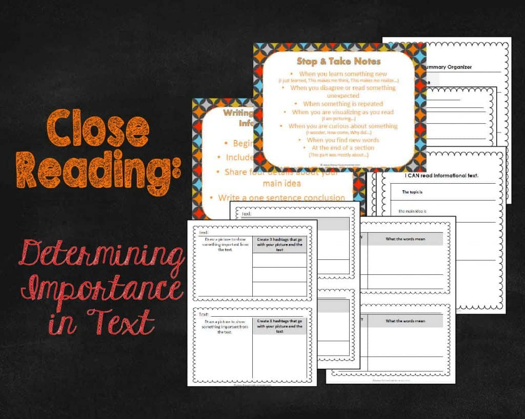 FREE Close Reading: Focus on Determining Importance in Text from The Curriculum Corner