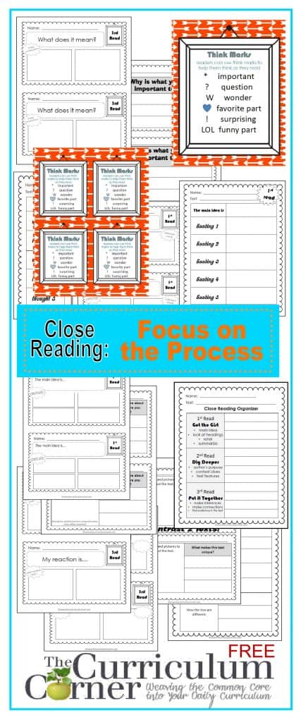 Close Reading: Focus on the Process | Graphic Organizers, Exit Tickets | Free from The Curriculum Corner
