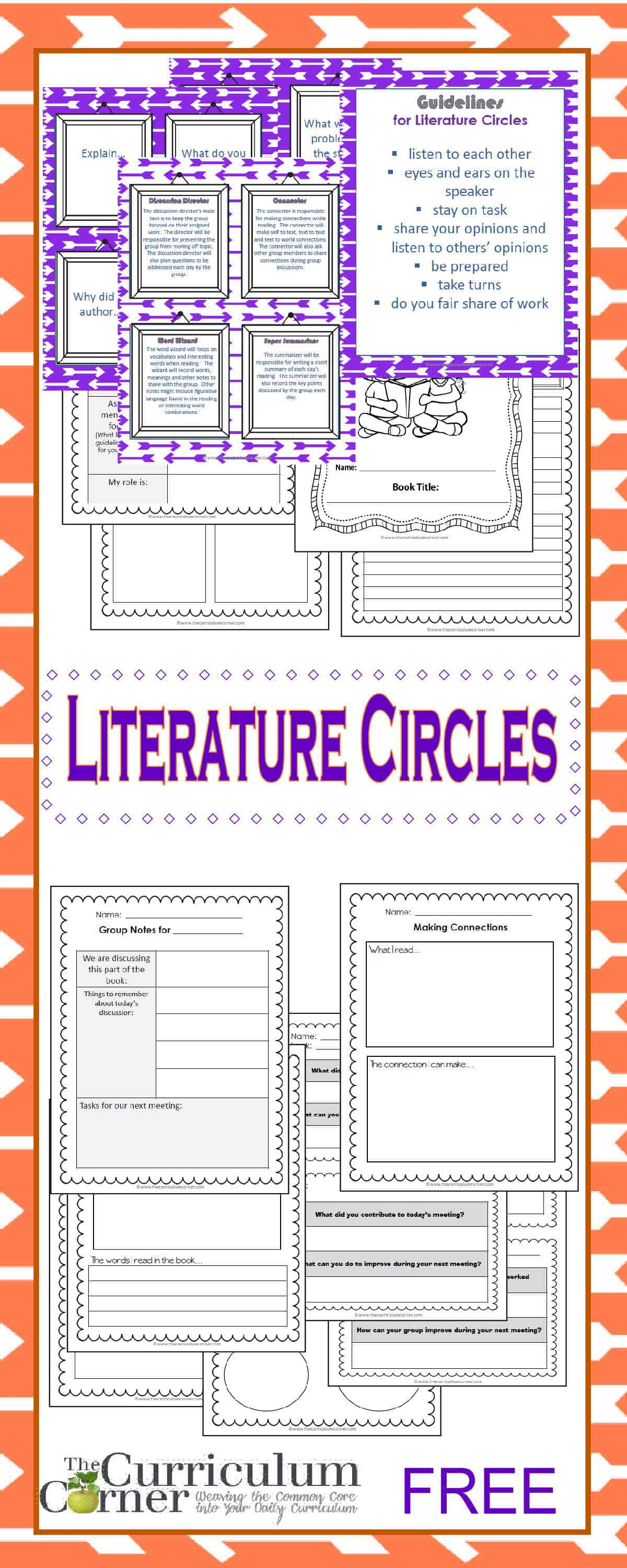Worksheets Literature Circle Worksheets getting started with literature circles the curriculum corner 4 5 6 circle resources free from book clubs