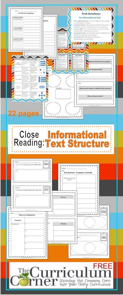 Close Reading: Informational Text Structures | Graphic Organizers, Exit Tickets | Free from The Curriculum Corner