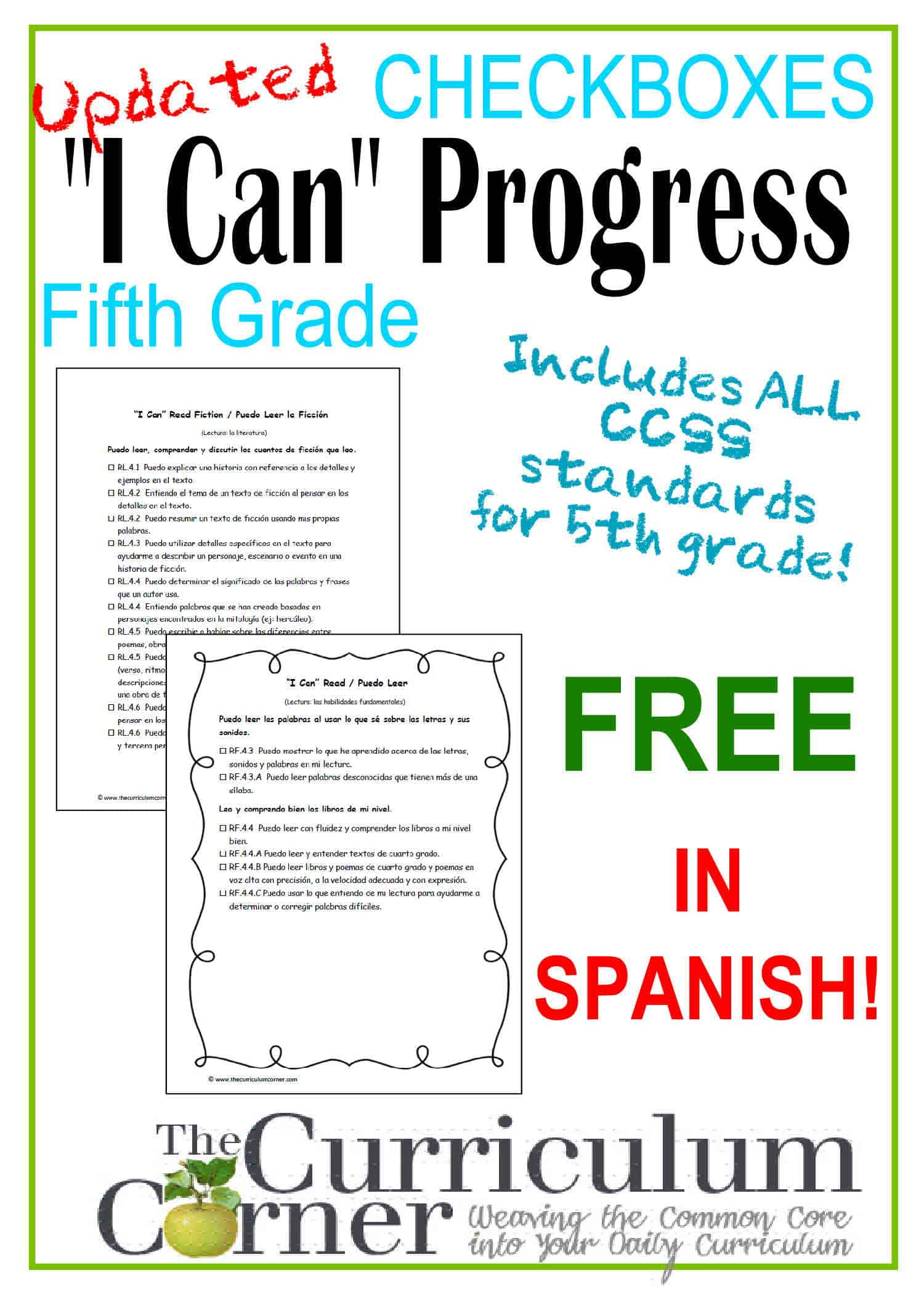"""I Can"" 5th Grade Common Core in Spanish"