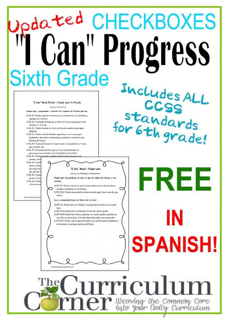 """I Can"" Checkboxes 5th Grade Spanish FREE from The Curriculum Corner 