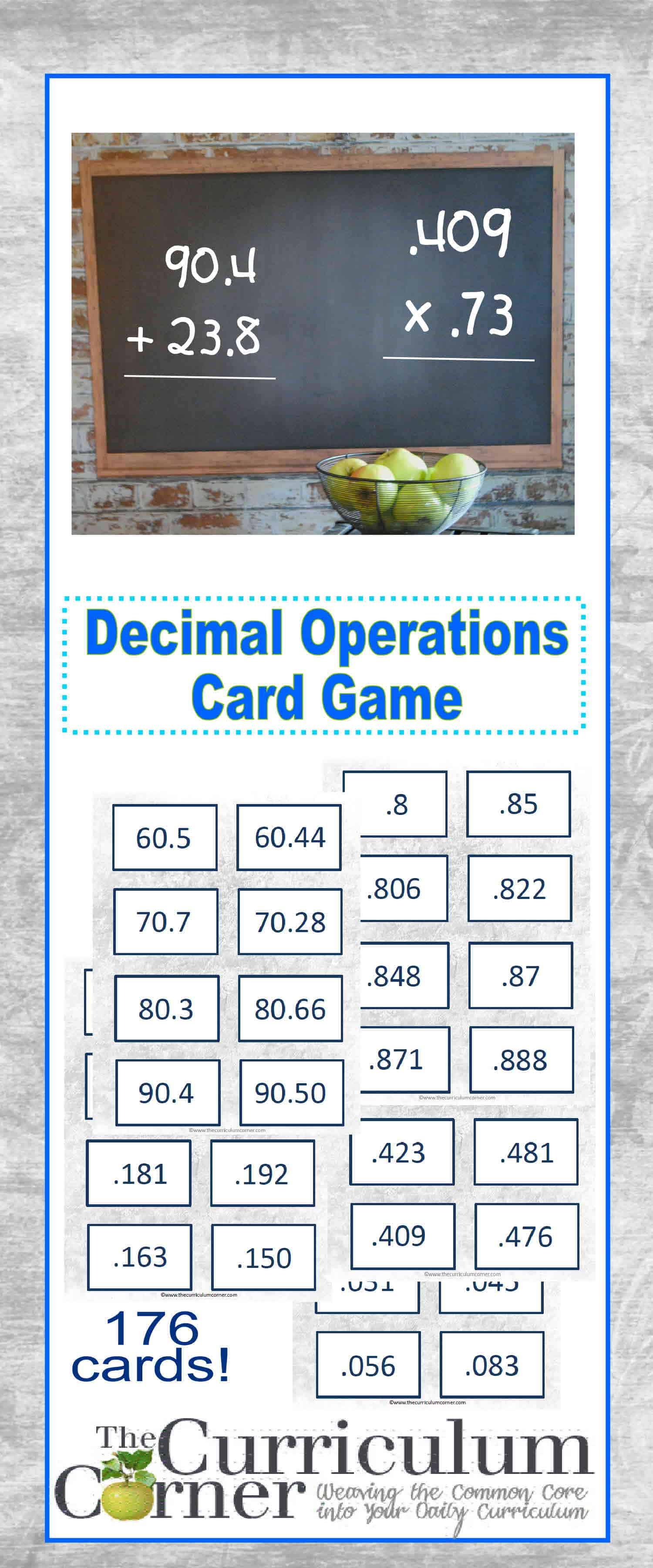 Decimal Operations Simple Card Game