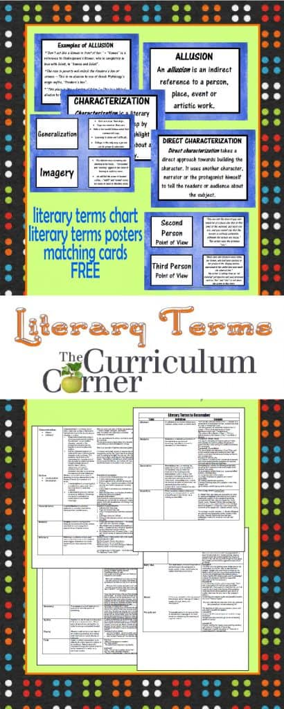 Advanced Literary Terms Chart, Posters, Matching Cards FREE from The Curriculum Corner   This collection is perfect for intermediate and middle school classrooms!