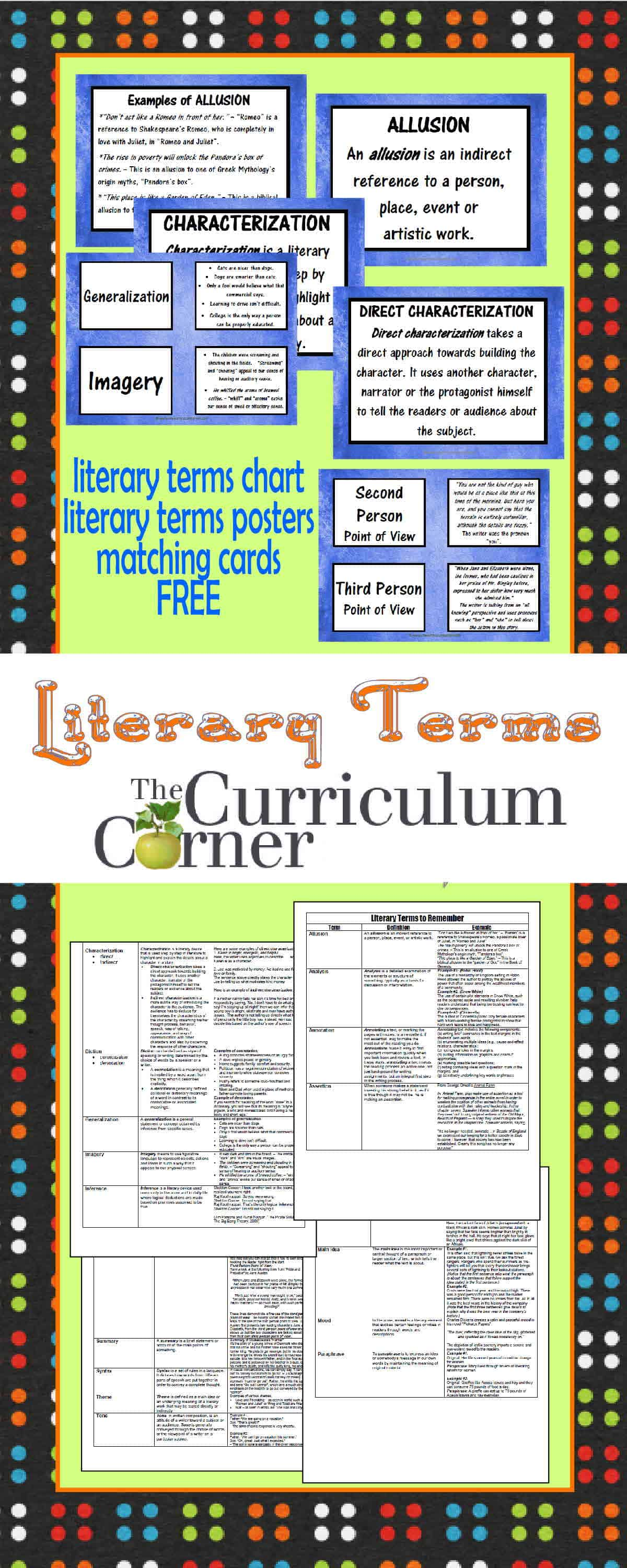 Advanced Literary Terms The Curriculum Corner 4 5 6
