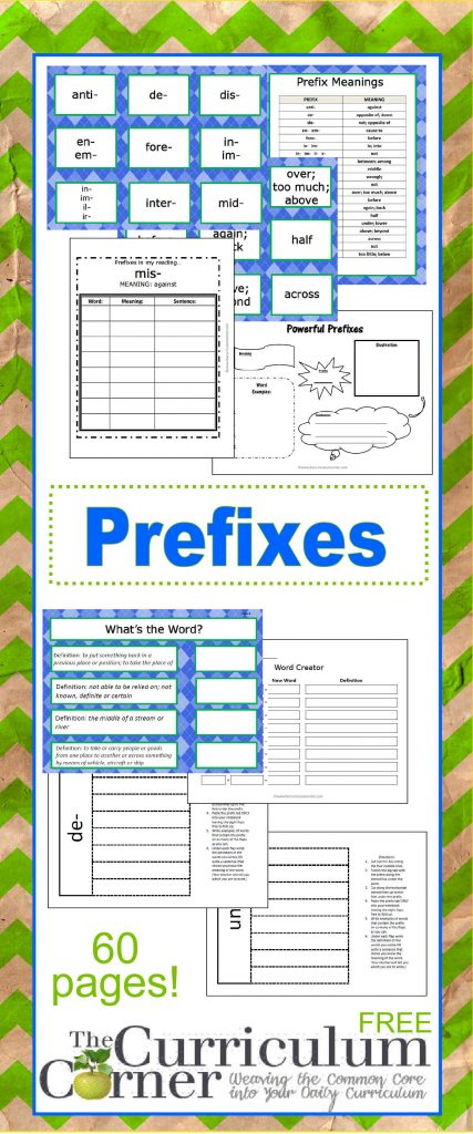 Prefixes FREE from The Curriculum Corner | Graphic Organizers, Card Sort, Recording Pages & MORE