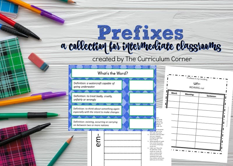 Use this free collection of prefix resources for prefix practice in your fourth or fifth grade classroom.