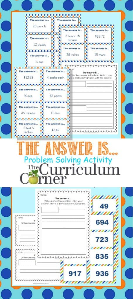 The answer is... Problem Solving Activity FREE from The Curriculum Corner