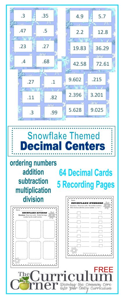 Snowflake Decimal Center by The Curriculum Corner | comparing, adding, subtracting, multiplying, dividing decimals