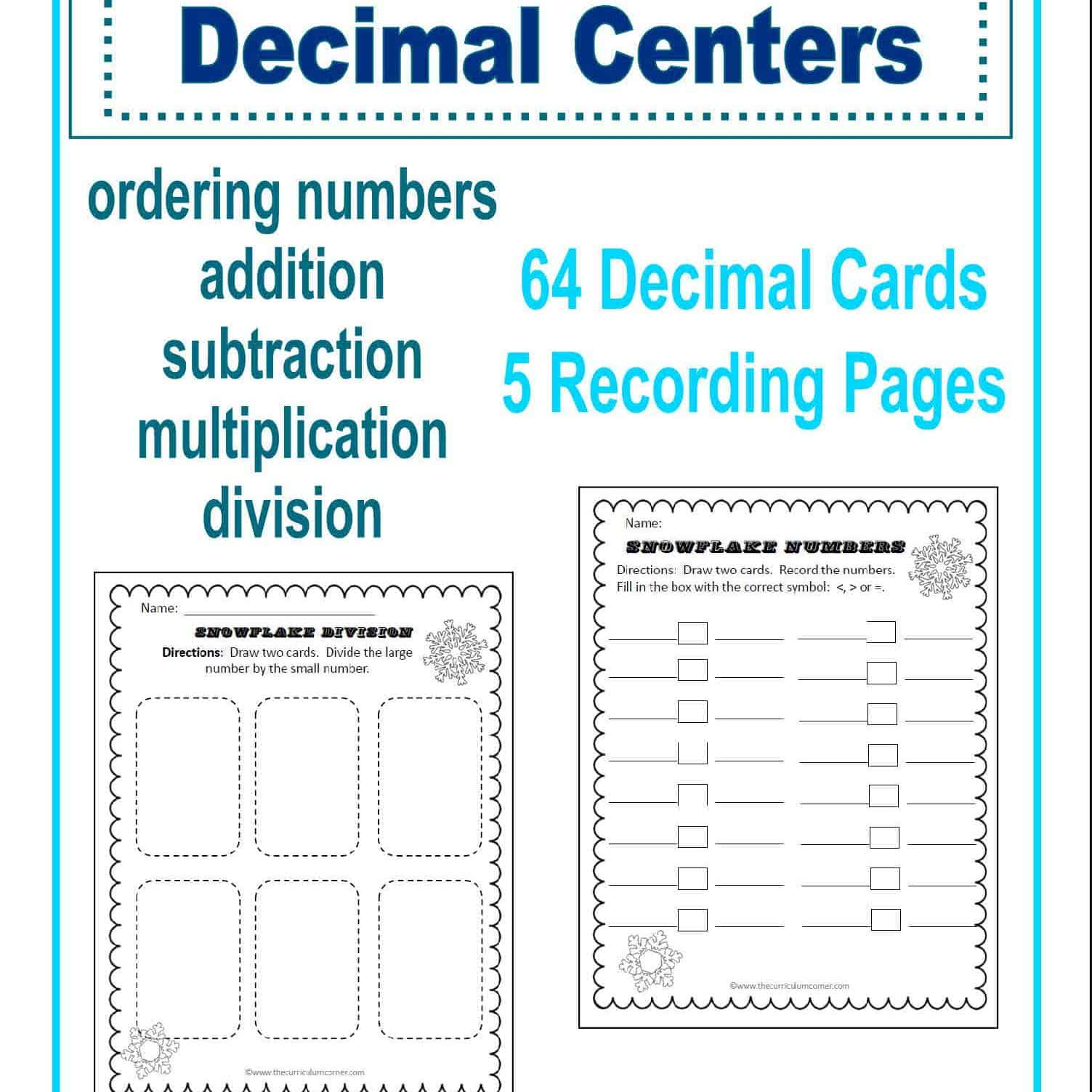 Decimal Centers | Snowflake Themed