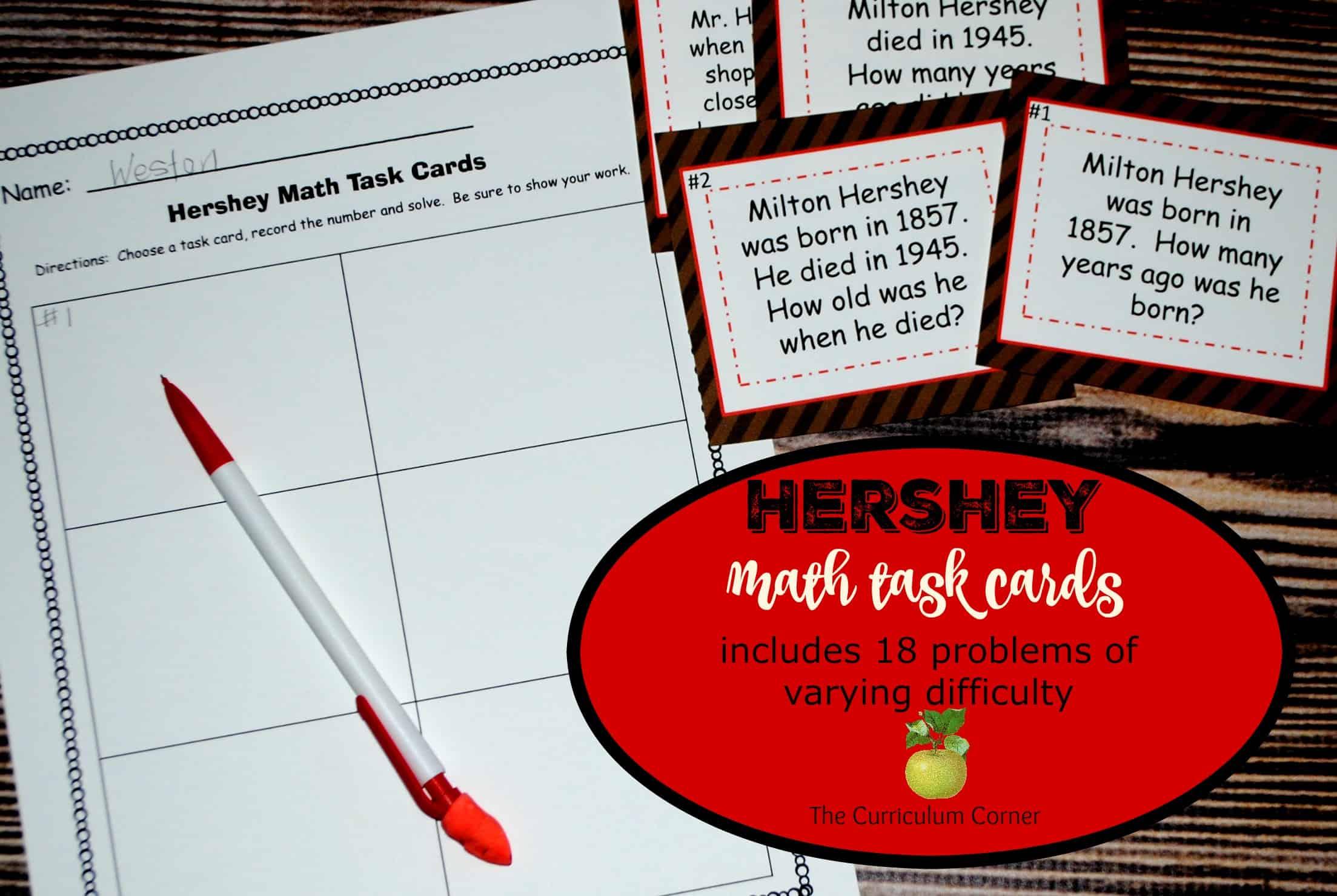 Hershey Bar Math The Curriculum Corner 456 – Hershey Bar Fraction Worksheet