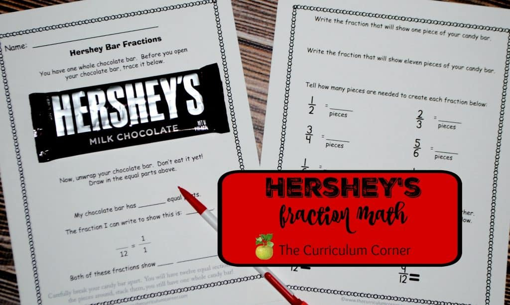 Hershey's Bar Math Activities FREE from The Curriculum Corner | fractions | Valentine's Day | problem solving | task cards