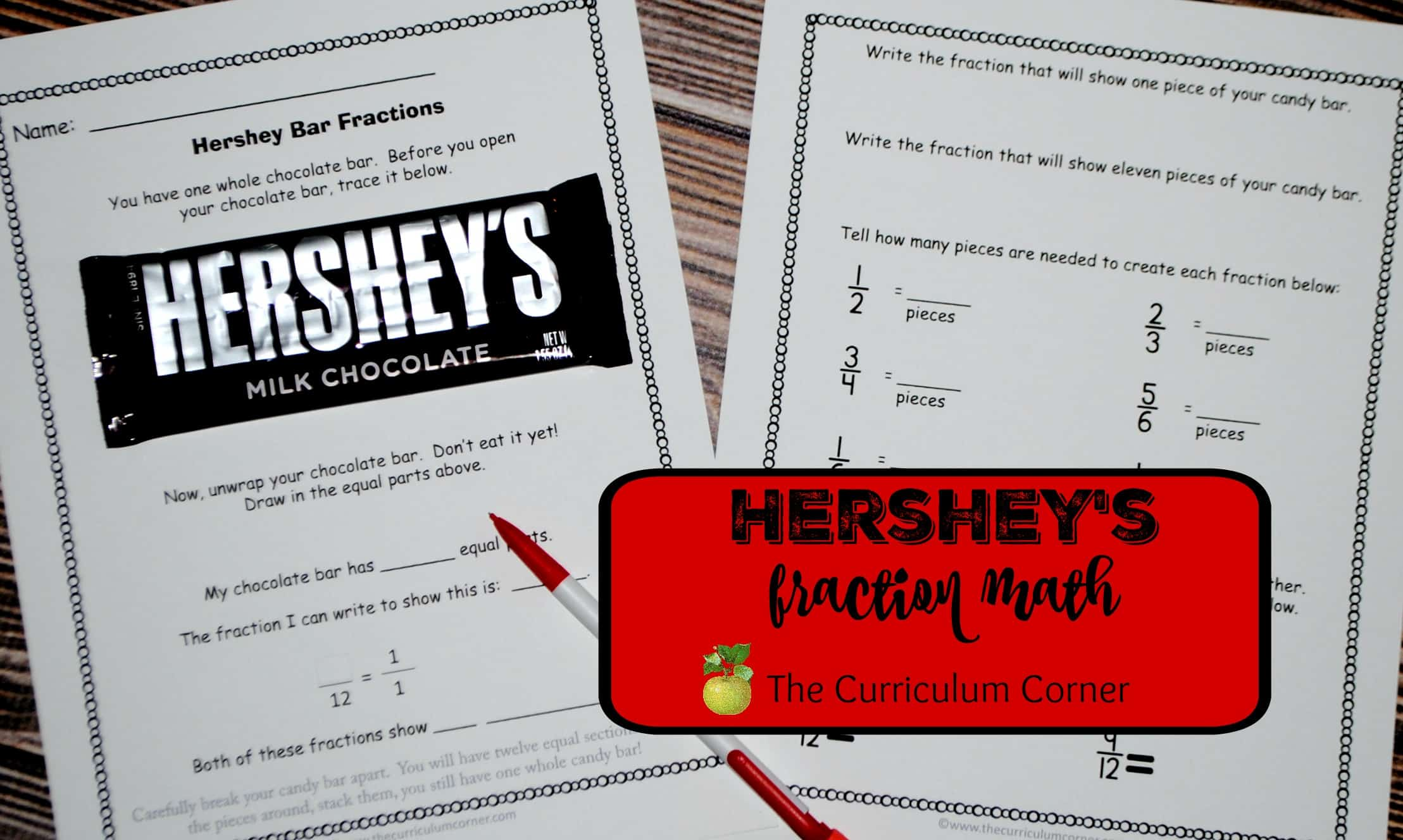 Hershey s bar math activities free from the curriculum corner fractions valentine s day problem
