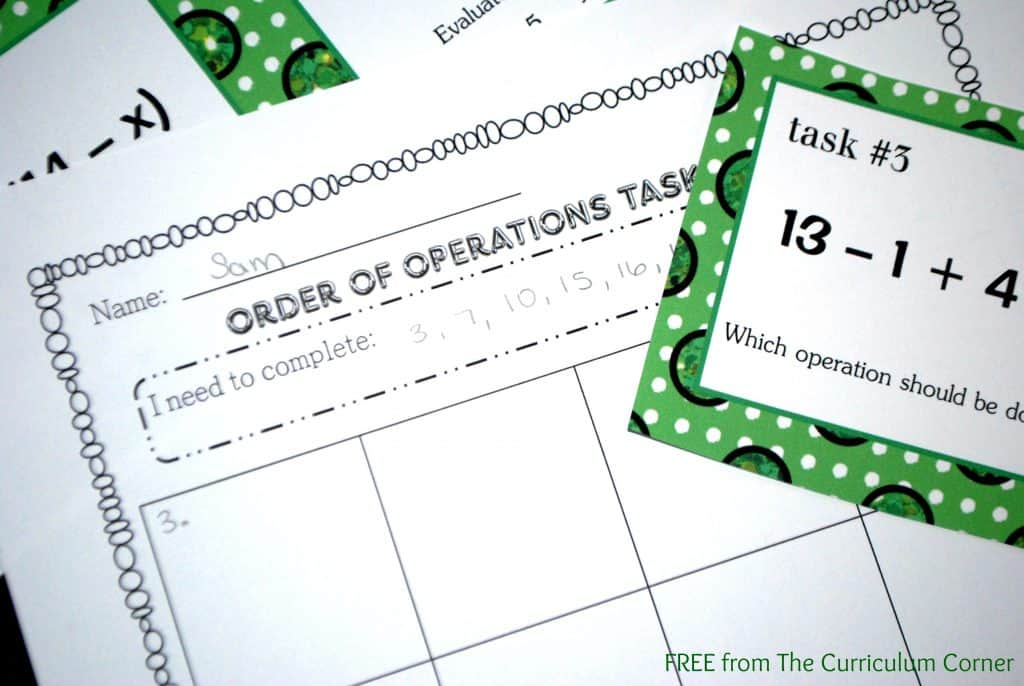 Order of Operations Task Cards FREE from The Curriculum Corner