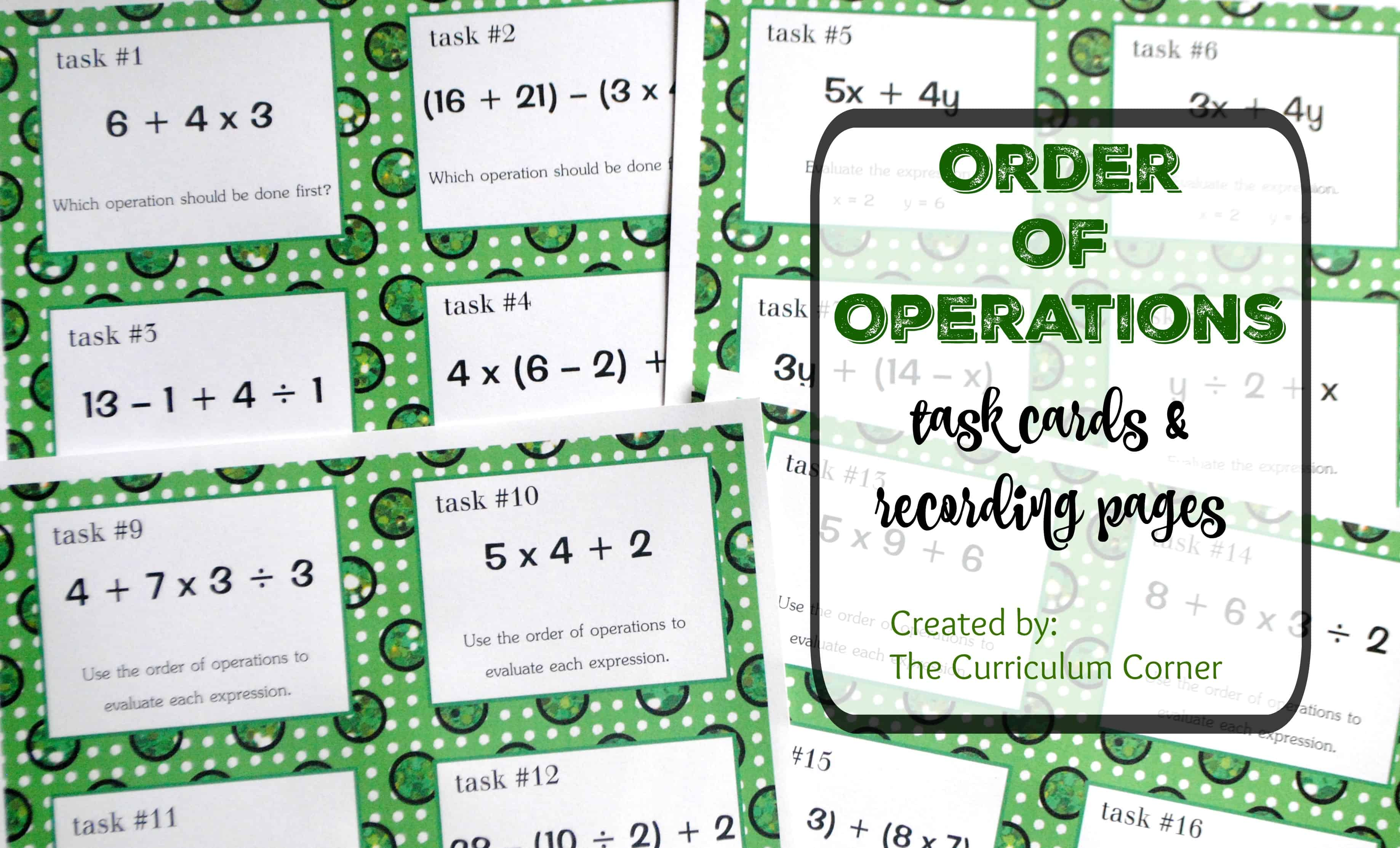 worksheet Order Of Operation order of operations task cards the curriculum corner 4 5 6 free recording pages from 5th grade