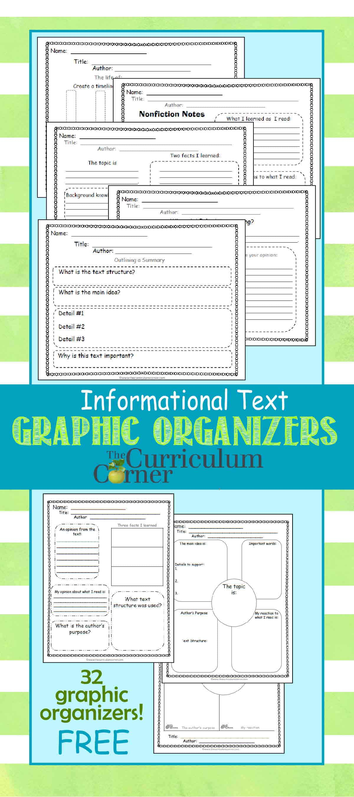 informational text graphic organizers the curriculum corner  informational text graphic organizers for 4th 5th grades from the curriculum corner