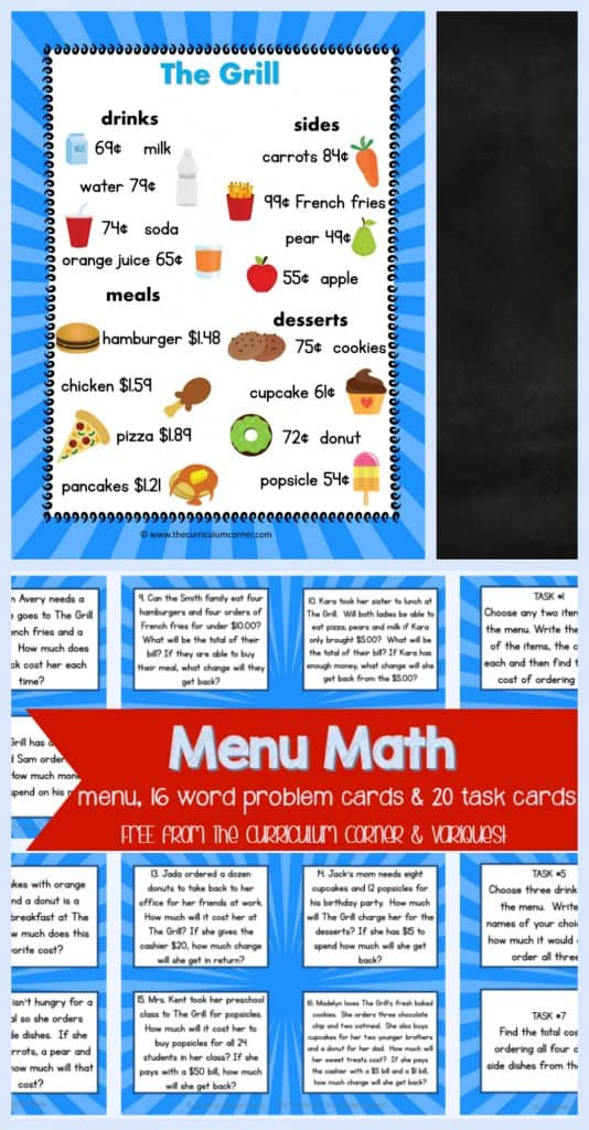 FREEBIE Menu Math, word problem cards, task cards for 4th & 5th grade math students | FREE from VariQuest and The Curriculum Corner | Math Problem Solving | Math Centers