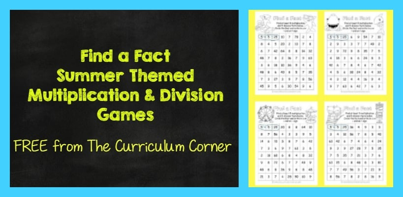 FREE Find a Fact Summer Themed Multiplication and Division Practice Games