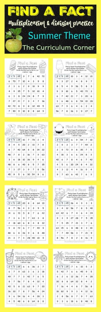 Find a Fact: Multiplication and Division Fact Practice Games | Summer Practice | FREE from The Curriculum Corner