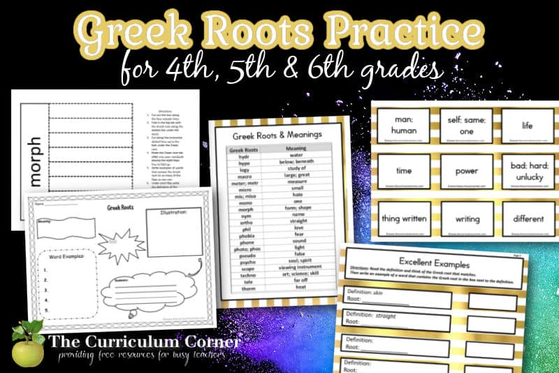 Use this collection while teaching Greek roots during word work time in your fourth or fifth grade classroom.