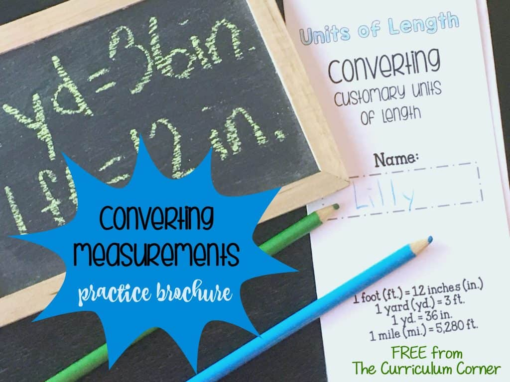 FREE! Converting Customary Units of Length Math Practice Brochure from The Curriculum Corner