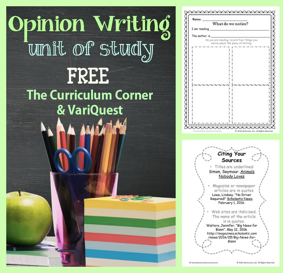 Opinion Writing Unit of Study