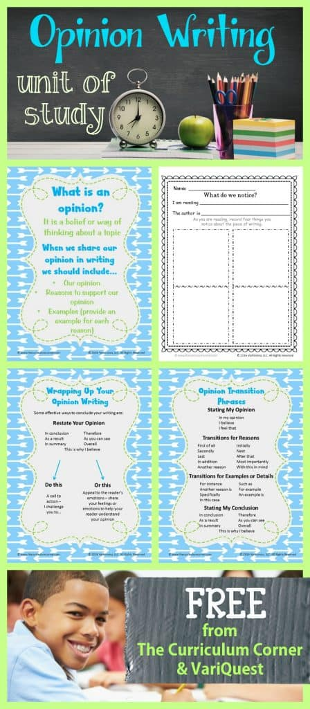 FREE Opinion Writing Unit of Study from The Curriculum Corner & VariQuest - meets 4th & 5th Grade standards