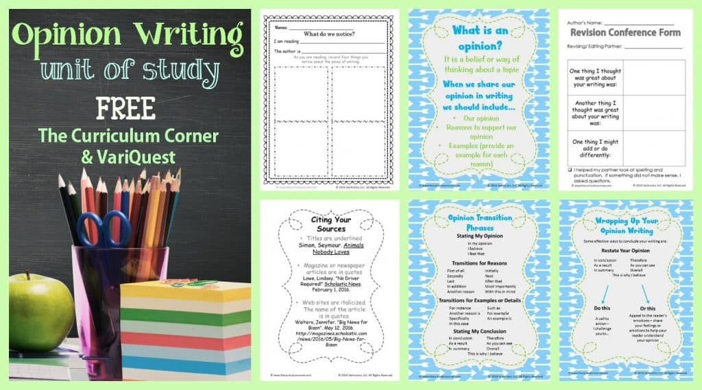 This opinion writing unit of study is meets standards while following a writing workshop approach. Free from The Curriculum Corner & VariQuest.