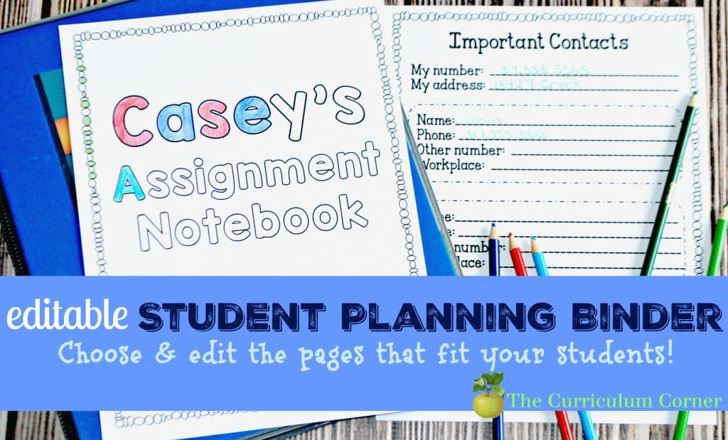 FREEBIE - editable student planning binder & assisngment notebook pages for students! From The Curriculum Corner