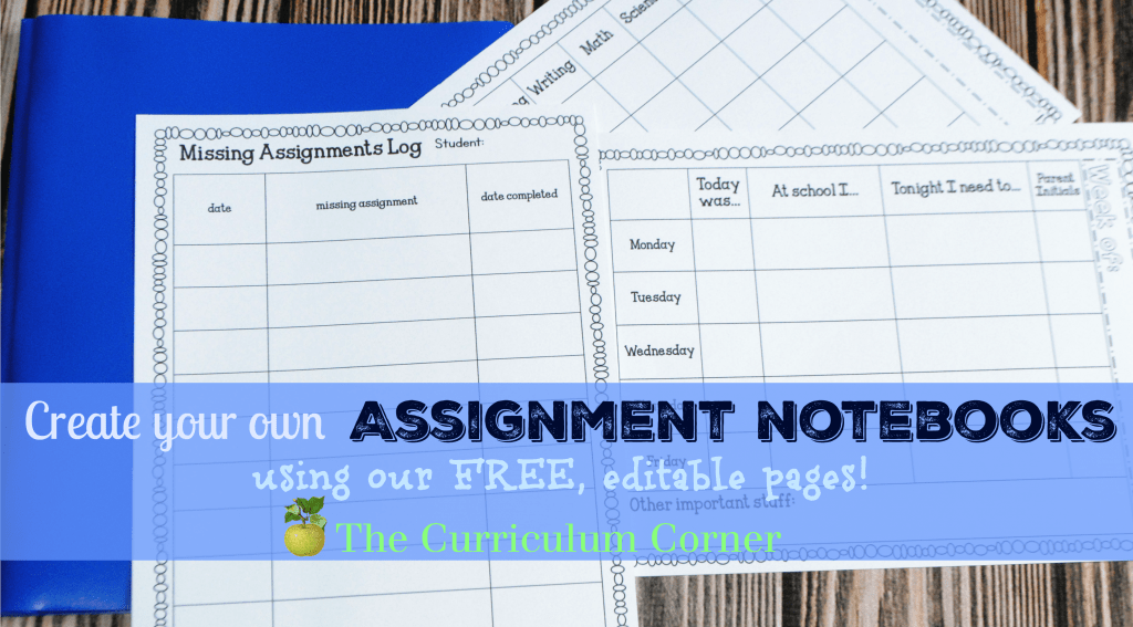 FREEB - Help your students get organized! editable student planning binder & assisngment notebook pages for students! From The Curriculum Corner