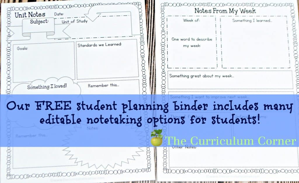 FREE - editable student planning binder & assisngment notebook pages for students! From The Curriculum Corner