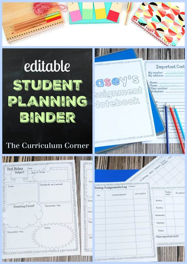 FREEBIE! Editable student planning binder from The Curriculum Corner - put together your own assignment notebooks!