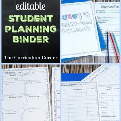 Editable Student Planning Binder