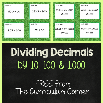 Dividing Decimals by 10, 100 or 1,000