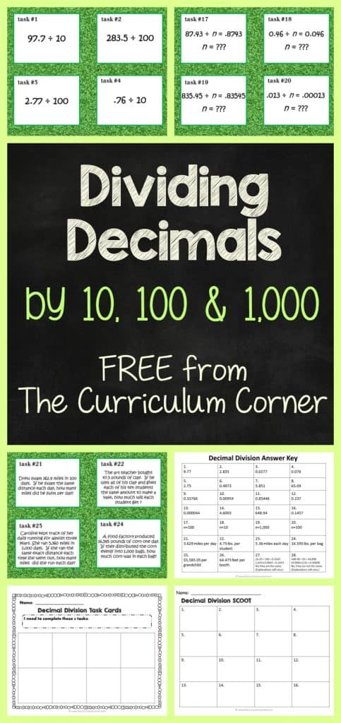 FREEBIE Dividing Decimals Task Cards & Scoot Game FREE from The Curriculum Corner | 4th Grade | 5th Grade | 6th Grade | Math Centers