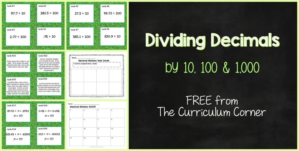 FREE Dividing Decimals Task Cards & Scoot Game FREE from The Curriculum Corner | 4th Grade | 5th Grade | 6th Grade | Math Centers