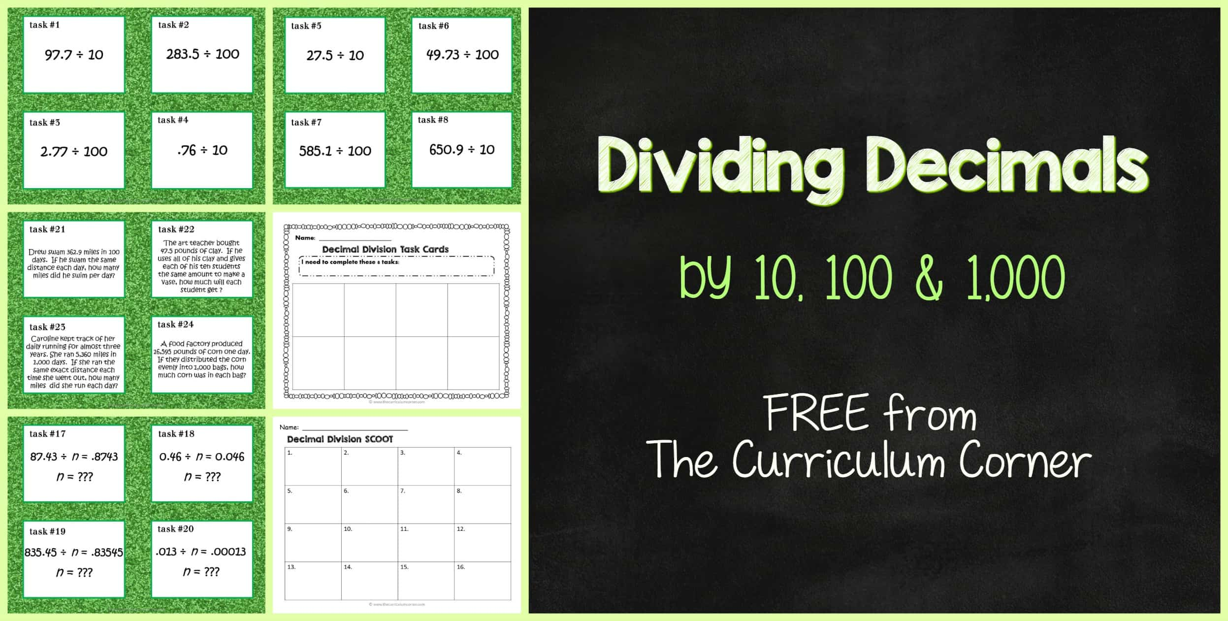 dividing decimals by 10  100 or 1 000