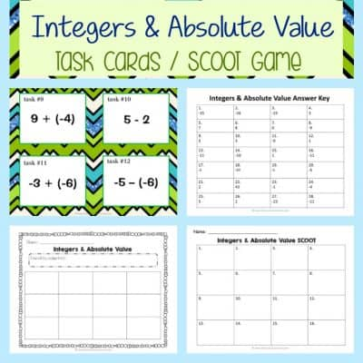 Integers & Absolute Value Task Cards