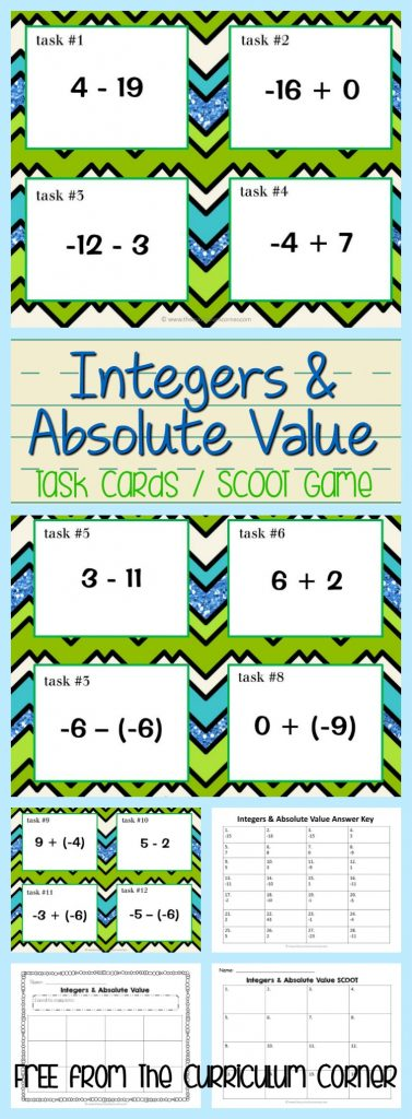 FREEBIE! Integers & Absolute Value Task Cards / Scoot Game FREE from The Curriculum Corner