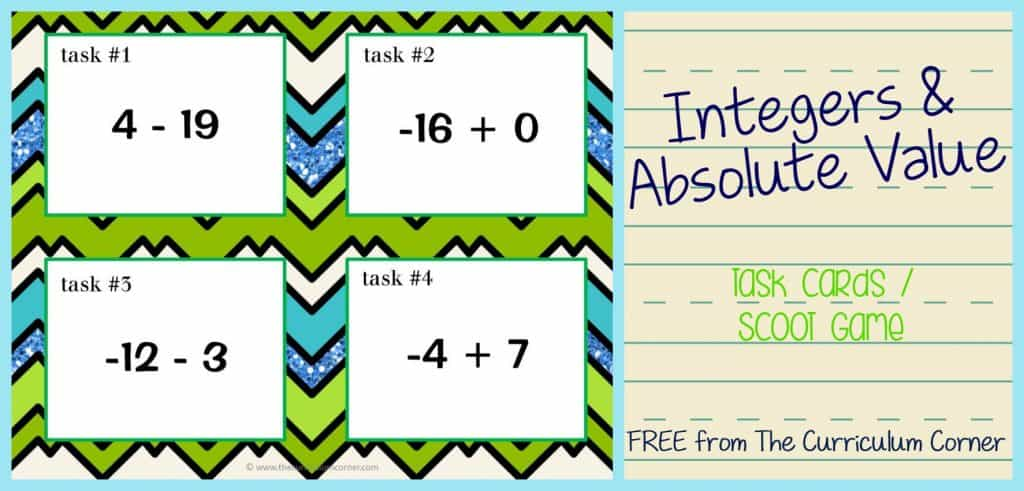 Integers & Absolute Value Task Cards / Scoot Game FREE from The Curriculum Corner