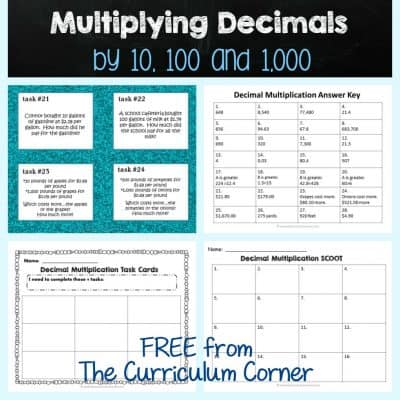 Multiplying Decimals by 10, 100 & 1,000
