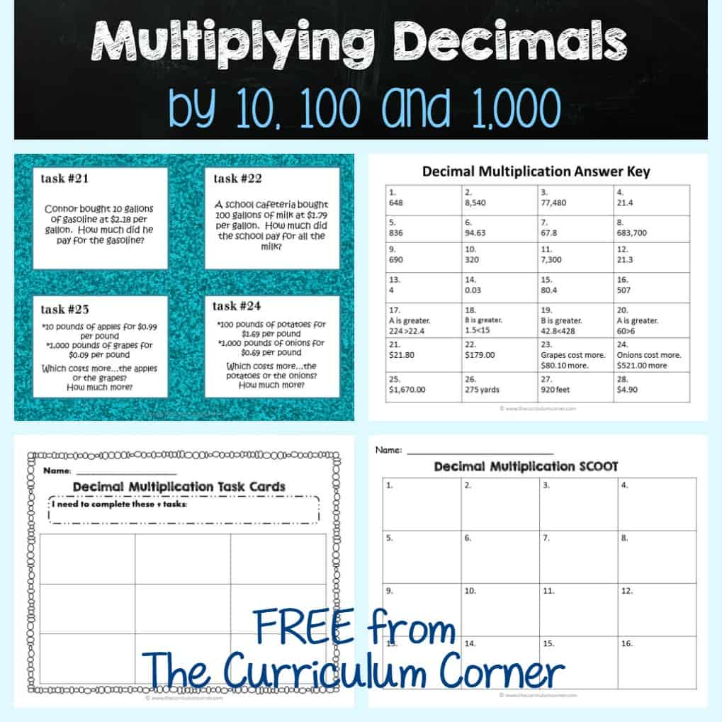 Multiplying Decimals by 10, 100 & 1,000