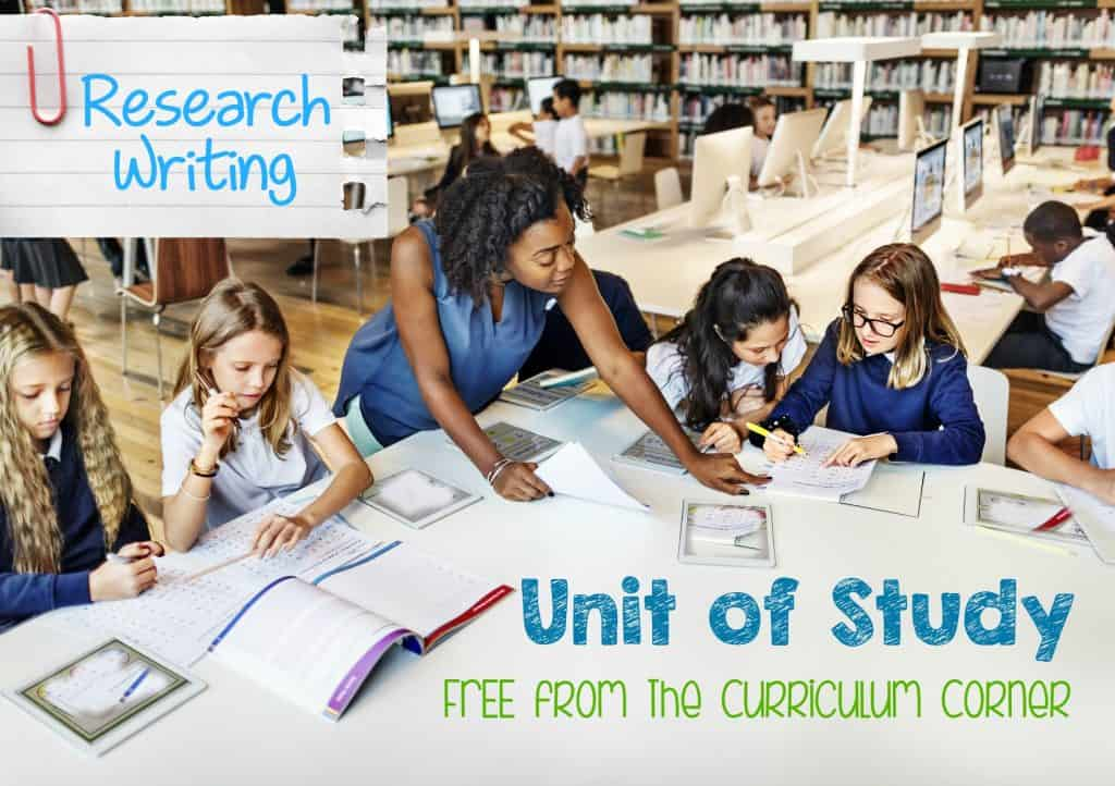 Research Writing Unit of Study FREE from The Curriculum Corner - mini lessons, anchor charts, graphic organizers & more!